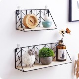 Iron Metal & Wood Wall Floating Shelves Shelf Bracket Industrial Modern Storage Hallway Home Decor