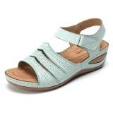 Lostisy Adjustable Hook and Loop Straps Peep Toe Comfy Sandals
