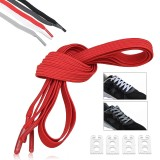 2Pcs 100cm Elastic No Tie Shoelaces Lazy Free Tie Sneaker Laces With Buckles Sports Running