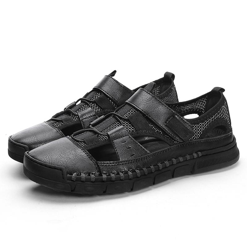 Men Retro Cowhide Breathable Mesh Casual Soft Sandals