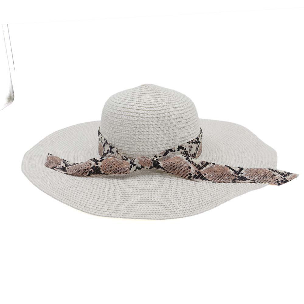 Women Foldable Ribbon Sunscreen Bucket Straw Hat Outdoor Casual Travel Beach Floppy Hat