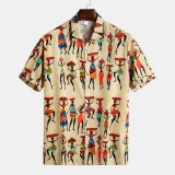 Mens Summer Printed Buttons Fly Breathable Casual Shirts