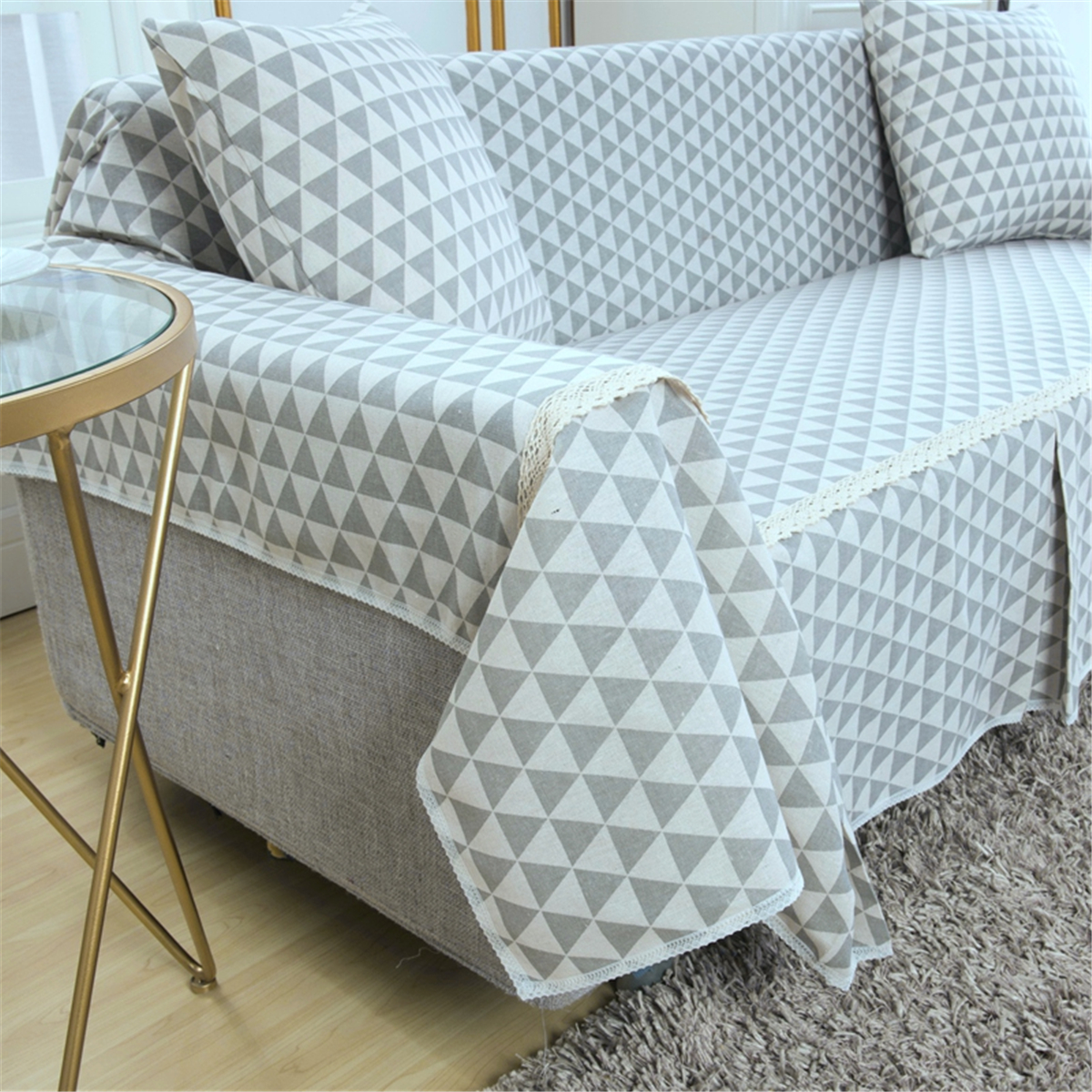 Sensational 1 2 3 Seater Sofa Chair Covers Cotton Linen Furniture Protector Couch Towel Skirt Thick Fabric Universal Sofa Towel Cover Machost Co Dining Chair Design Ideas Machostcouk