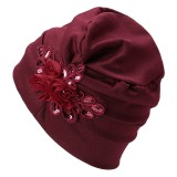 Women Monochrome Side-mounted Sequined Flower Headband Cap Turban Hat Cotton Casual Breathable Head Caps