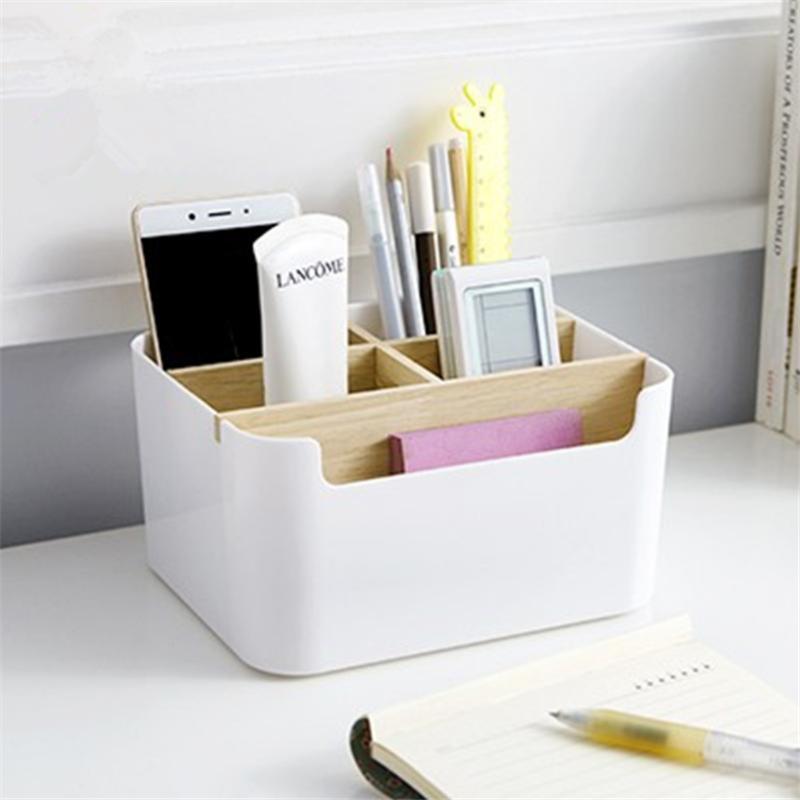 HP-4201 Creative Multi-function Desktop Storage Box Remote Controler Stationery Cosmetics Storage Box Pen Holder Detachable Classification Wood Container Office Desktop Organizer