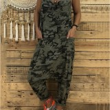 Women Casual Spaghetti Straps Camouflage Baggy Jumpsuit with Pockets