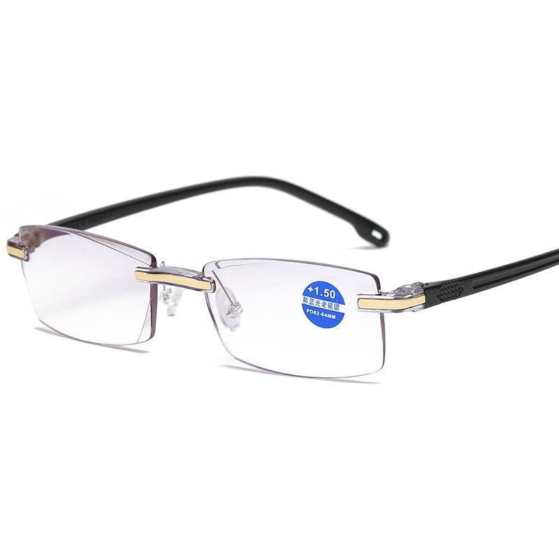 Frameless Diamond Trimming Reading Glasses Anti-blue Light Neutral Reading Glasses With Glasses Box