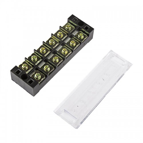 TB4506 600V 45A 6 Position Terminal Block Barrier Strip Dual Row Screw Block Covered W/ Removable Clear Plastic Insulating Cover