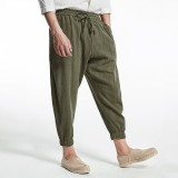 Mens 100% Cotton Ankle-Length Summer Breathable Loose Casual Harem Pants