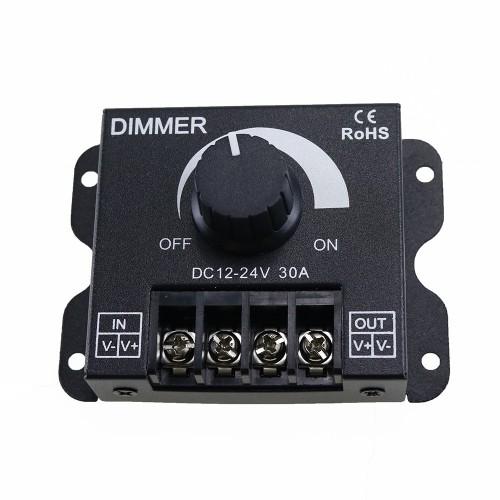 DC12-24V 30A Brightness Adjustable LED Dimmer Controller for 5050 3528 Single Color Strip Light