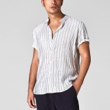 Mens Vintage Stand Collar Stripe Short Sleeve Casual Shirts