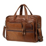 Men Genuine Leather Business Large Capacity Handbag Briefcase