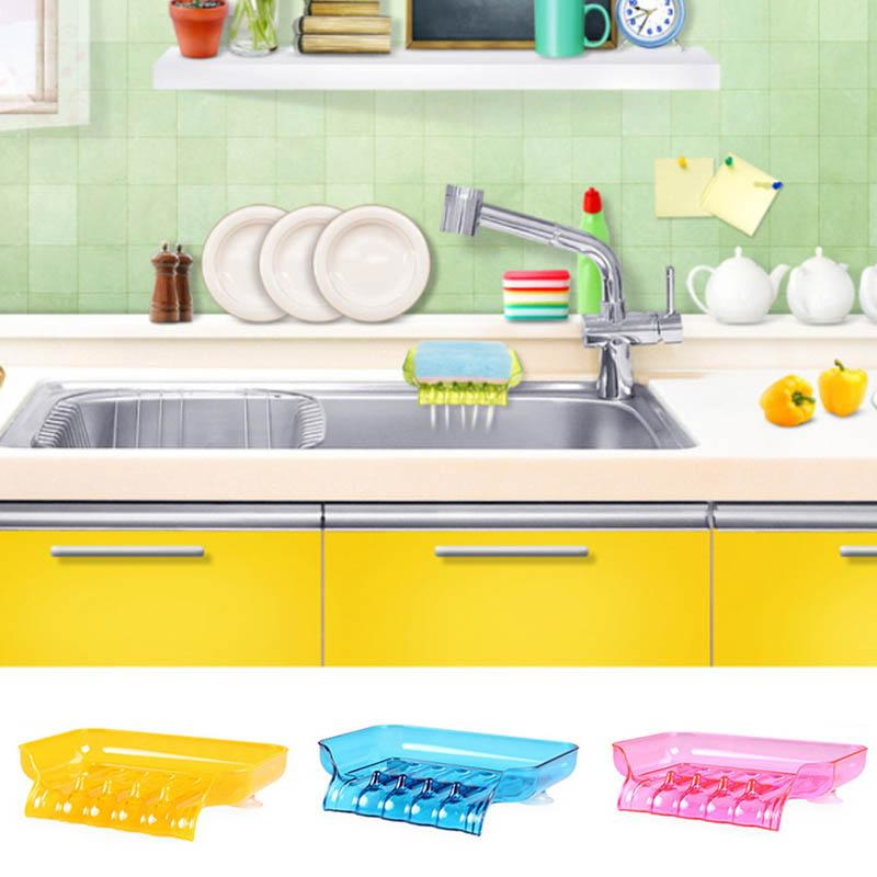 Waterfall Shape Colorful Shower Soap Dish Bathroom Accessories Tray Drain Holder Soap Case Candy Color Soap Box