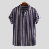 Mens Summer Stripe Printed Ethnic Style Casual Loose Comfy Shirts