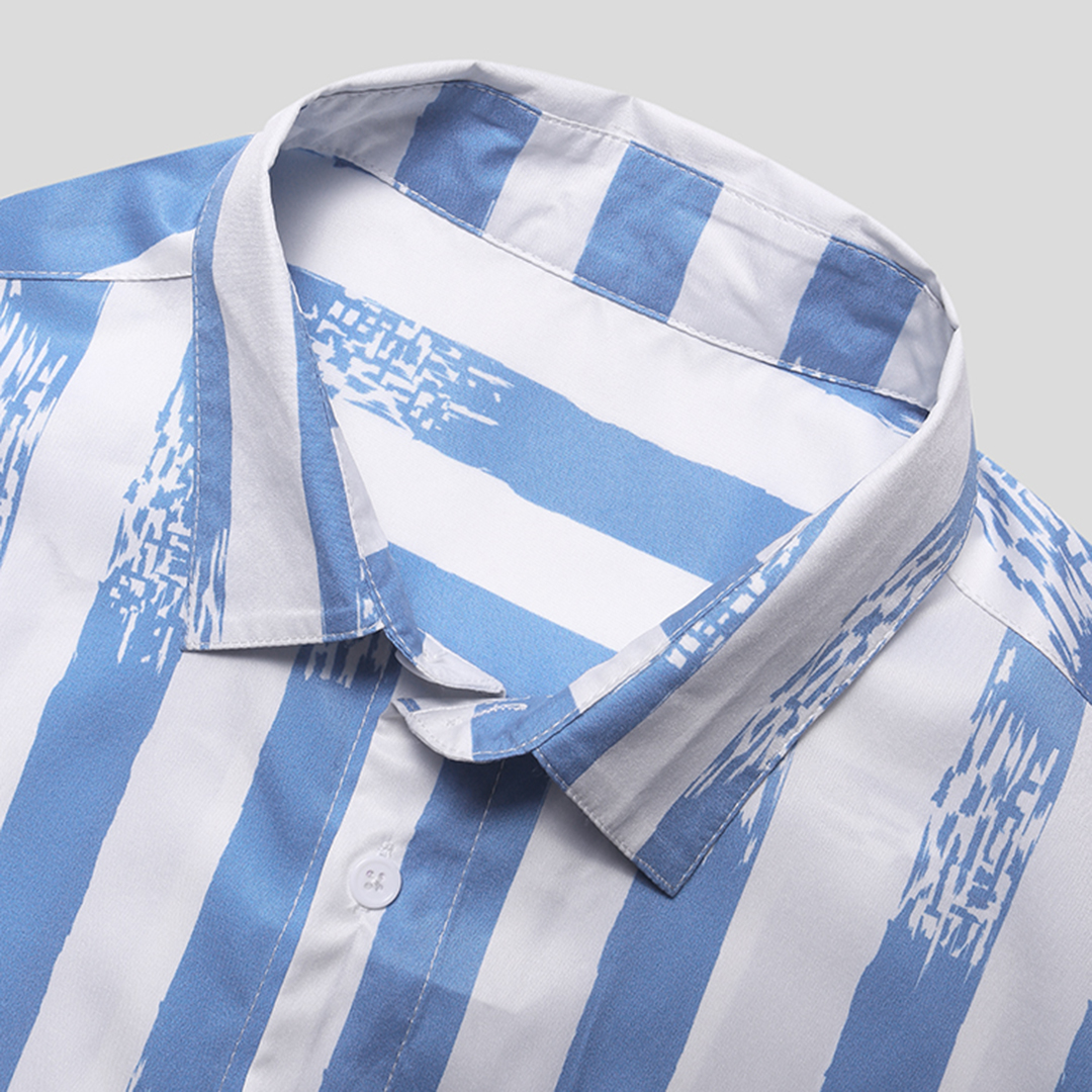 Mens Stripe Summer Breathable Printing Buttons Fly Short Sleeve Casual Shirts