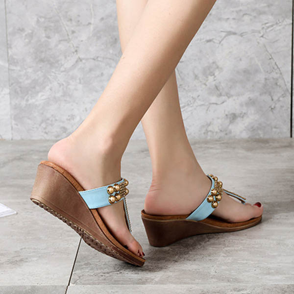 Women Flip Flops Bohemian Rivet Wedge Heel Sandals