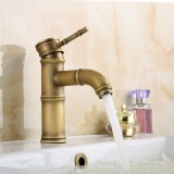 Antique Copper Bathroom Bamboo Vessel Sink Curved Faucet Single Handle Short Spout Bath Tub Mixer Taps Deck Mount