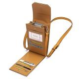 Brenice  Women Solid Flap Card Bag Phone Bag Crossbody Bag