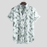ChArmkpR Men Tropical Plants Printed 100% Cotton Hawaiian Beach Shirts