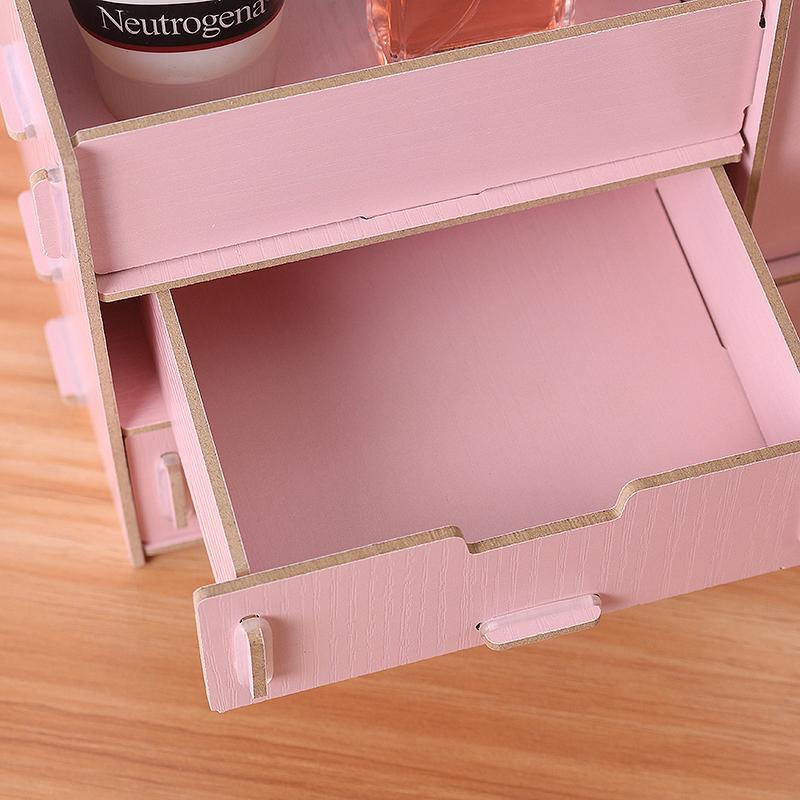 Wooden Cosmetics Storage Box with Mirror Dressing Box Storage Rack Makeup Organizer Storage Baskets