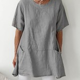 Solid Color Short Sleeve Crew Neck Pocket Daily Casual Cotton Blouse