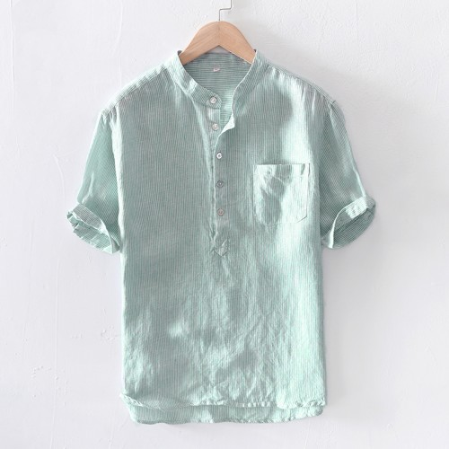 Mens Stripe Cotton Breathable Comfy Short Sleeve Summer Casual T-shirts