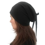 Women Summer Plain Color Turban Hat Casual Bow Skullcap Beanie Caps