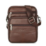 Men Genuine Leather Shoulder Bag Handbag Messenger Crossbody Waist Bag Phone Pouch Outdoor Travel