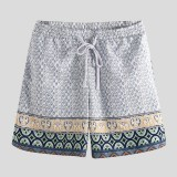 Men Ethnic Pattern Print Quick Dry Drawstring Beach Board Shorts
