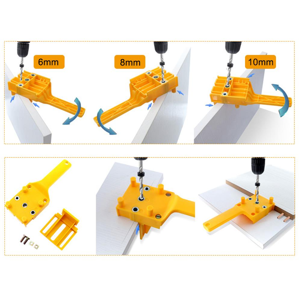 ABS Plastic Dowel Jig Set 6 8 10mm Wood HSS Drill Bits Woodworking Jig Pocket Hole Jig Drill Guide Tool For Carpentry