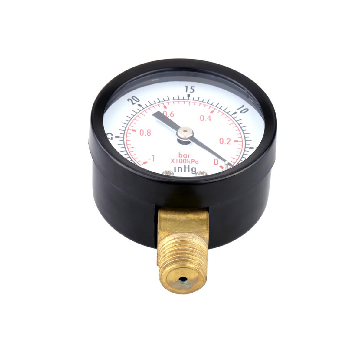 TS-50-1+1 0~-30inHg 0~-1Bar Presuure Manometer 50mm Mini Air Vacuum Pressure Gauge Meter Manometer