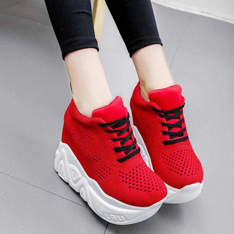 Women's Platform Sneakers Wedge Heels Sneakers Lace-Up Wedge Fitness Running Sneakers