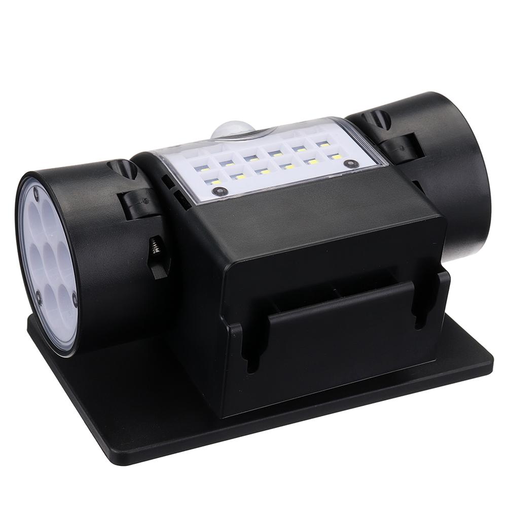 Dual Head LED Solar PIR Motion Sensor Security Light Spotlight Flood Lamp