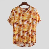 Mens Summer Maple Leaf Printing Breathable Short Sleeve Casual Shirts