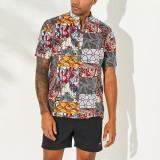 Mens Vintage Splicing Summer Thin Casual Loose Printing Henley Shirts