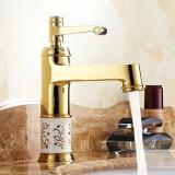 European Classic Golden Bathroom Basin Faucet Hot & Cold Water Mixer Tap Single Handle Copper Deck Mount