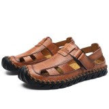 Hand Stitching Lifted Toe Hook Genuine Leather Sandals