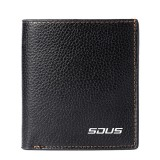 Men Faux Leather Business Plain Soft Wallet