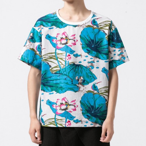 Chinese Style Pattern Printed T-shirts O-neck Tees for Men