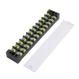 TB-2512 600V 25A 12 Position Terminal Block Barrier Strip Dual Row Screw Block Covered W/ Removable Clear Plastic Insulating Cover