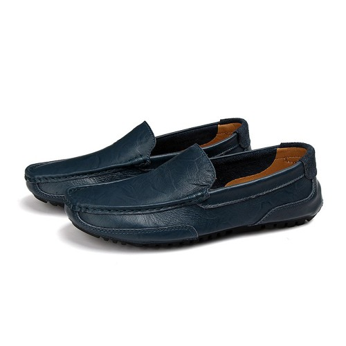 Men Cowhide Casual Lightweight Soft Soles Walking Slip On Flats