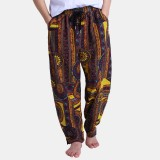 Mens Ethnic Style Printed Loose Drawstring Elastic Waist Casual Harem Pants