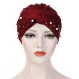 Vintage Women Ethnic Style Breathable Side Flower Headband Cap Turban Cap