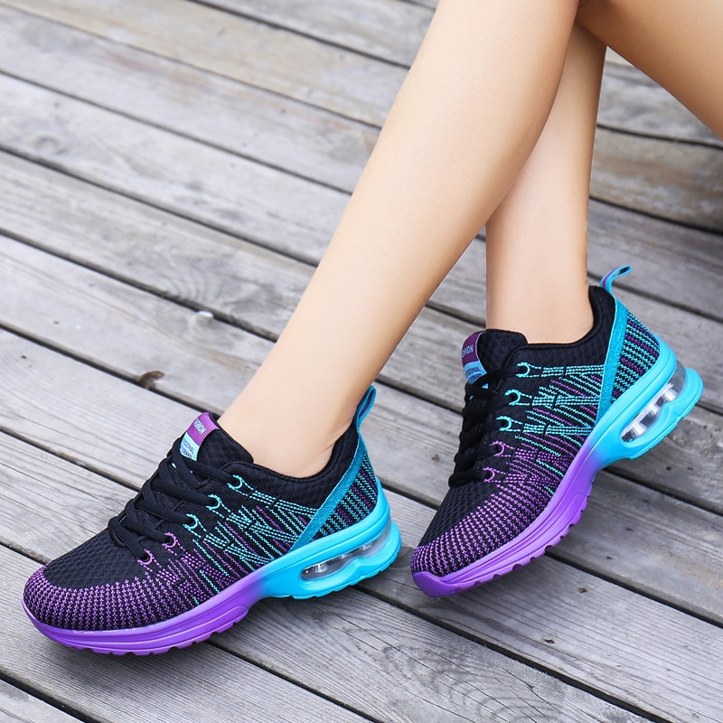 AU Women Casual Breathable Mesh Shoes Sport Running Lace up Air Cushion Trainer Sneakers