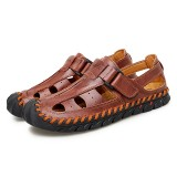 Men Hook&Loop Hand Stitching Toe Protection Casual Soft Sandals
