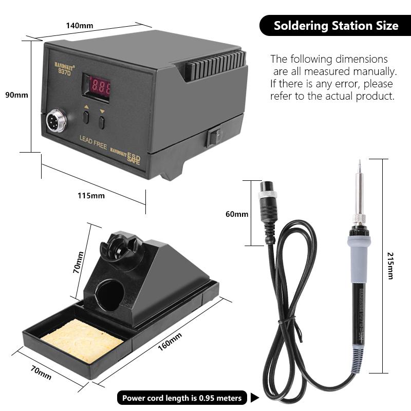 Handskit 220V 65W Digital Soldering Station BGA Rework Solder Station with Soldering Iron Soldering Stand 5 Tips Soldering Tool