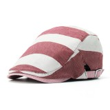 Men Women Cotton Stripe Beret Caps Duck Hat Sunshade Casual Outdoors Peaked Forward Cap