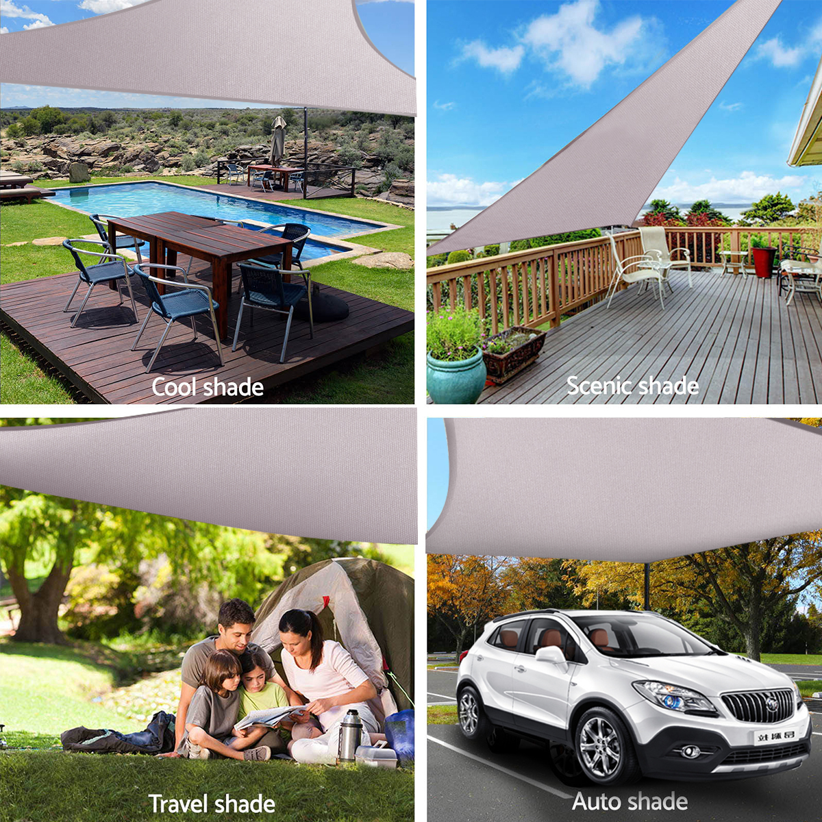 300D 160GSM Sun Shade Sail Waterproof UV Garden Patio Awning Canopy Tent Sunshade Shelter Square Rectangle