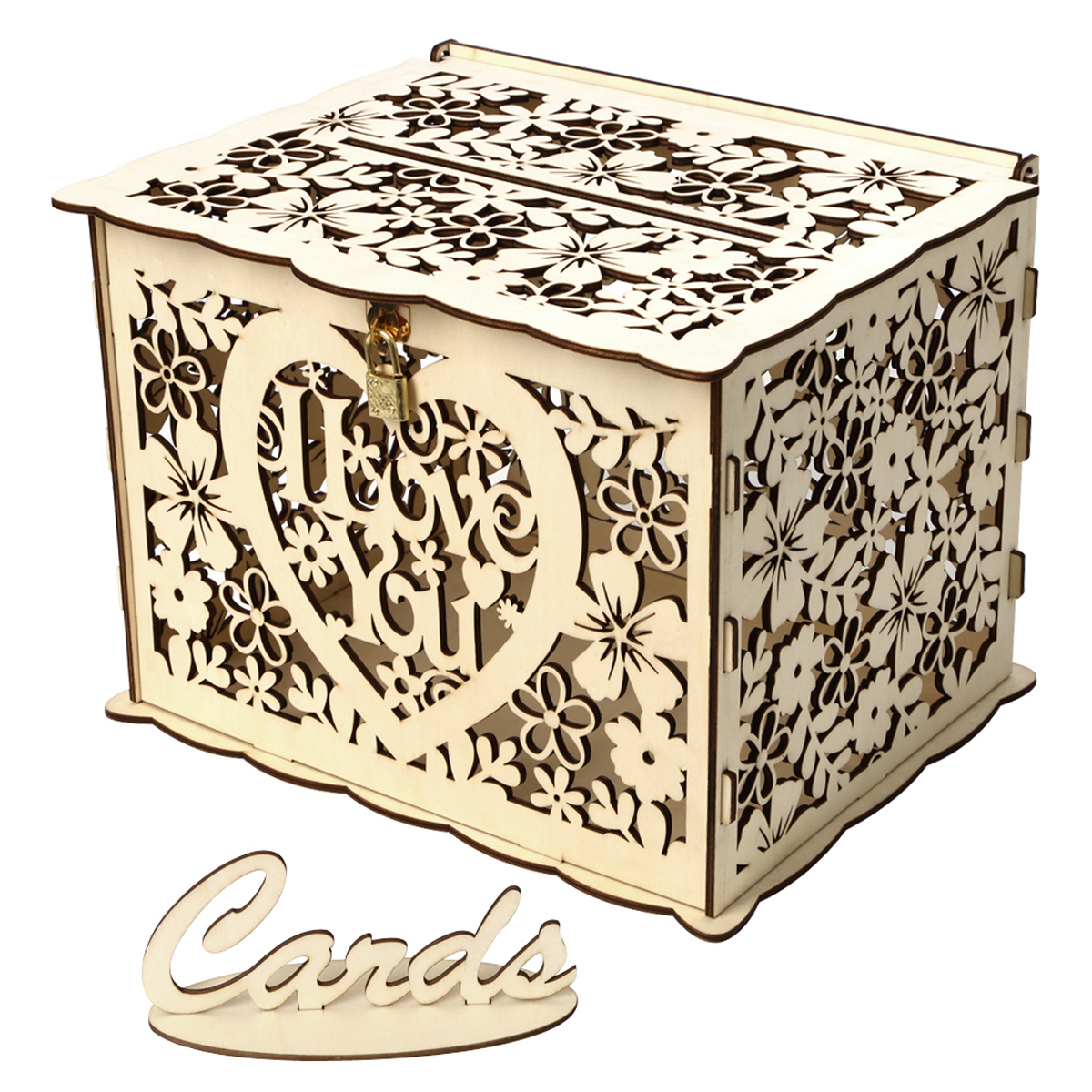 Diy Wedding Gift Card Box Wooden Money Box With Lock Beautiful Decor Supplies For Birthday Party