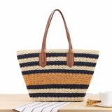 Striped Shoulder Bag Straw Beach Bag Tote Bag Handbag For Women
